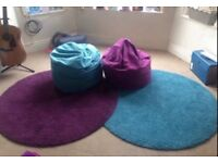 Bean bag chairs and IKEA rugs