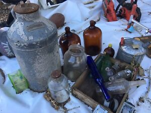 Antique glass jars and jugs
