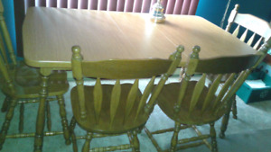Table and four chairs
