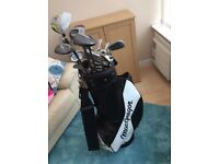 Full set Macgregor golf clubs with bag & trolley