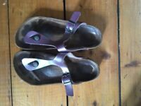 Size 5 Purple metallic ladies birkenstock sandals