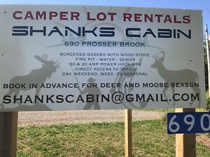 Campersites available at Shank's Cabin