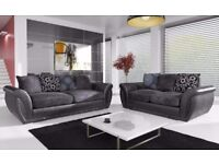 New large Shannon leather & fabric 3+2 seater sofa in Black/Grey, Armchair available