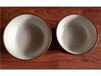 DENBY SOUP CEREAL BOWLS TWO DIFFERENT SIZES SET OF 6 BROWN CREAM