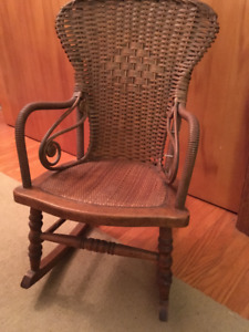Antique child's wicker and wood rocking chair