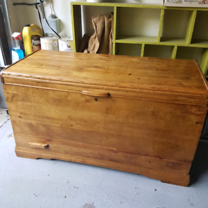 Antique solid wood chest with drawer