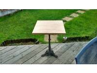 Cast iron table wood top