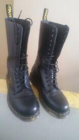 Size 9 good DMS 19 hole black boots hardly worn .no marks