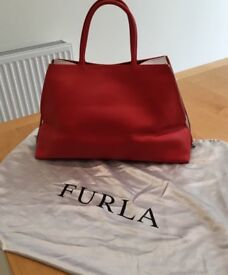 Genuine Furla Red & White Handbag, used once