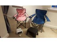 Camping/Caravan/Fishing chairs, heater & step