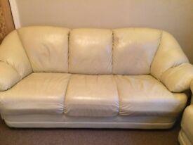 Cream Leather Suite - Settee - Sofa - 3 Seater & 2 Seater