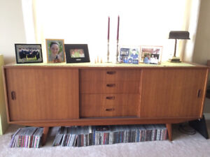 Matching Teak Furniture Set- Credenza, Table and Chairs, Hutch