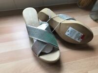 Marks & Spencer Silver / Light Brown Wedge Sandals - Size 7 ** Brand New ** REDUCED