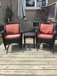 Outdoor chairs and side table