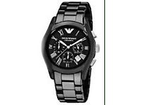 Emporio Armani Ceramica Men's 42mm Black Ceramic Chronograph Watch (Silver Details) - AR1400