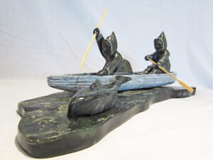 =MUSEUM QUALITY MARK PARKINSON WHALE HUNTING SOAPSTONE SCULPTURE