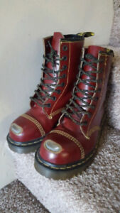 Doc Martens Cherry Red Boots, Steel Toe