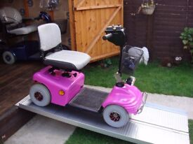 RARE PINK COLOUR ALL TERRAIN SHOPRIDER DELUXE MOBILITY SCOOTER - 21 ST USER - 18 MILES - £395