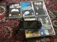 Sony psp& 6 games & charger, faulty turns on , won't play game