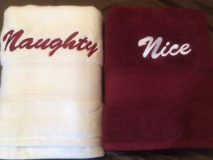 Brand new bath towels. Deep red and White