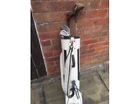 Sauder Golf Bag and Various Wilson/Slazenger Clubs