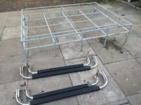 Land Rover 110 galvanised roof rack & dual moulded rubber side steps! Genuine Land Rover.