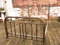 STUNNING ANTIQUE FRENCH ART DECO BRASS DOUBLE BED