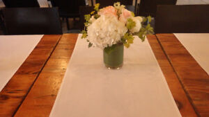 Table runners and vases