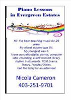 Piano Lessons in Evergreen Estates SW