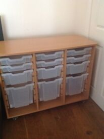 Wooden Storage unit with boxes