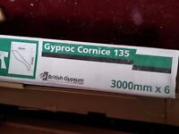 2 boxes of cheap Gyproc Cornice Coving 135mm x 3000 mm for sale including 2 bags of adhesive