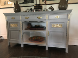 REFINISHED ANTIQUE HUTCH WITH ORIGINAL BRASS HARDWARE