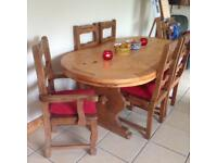 Bespoke farmhouse solid pine table and chairs.