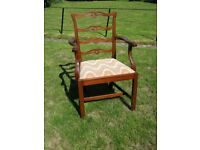 Chippendale Style Ladder Back Armchair - Mahogany - drop-in seat