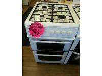 HOTPOINT 55CM GAS DOUBLE OVEN COOKER IN WHITE ☆BRAND NEW ☆