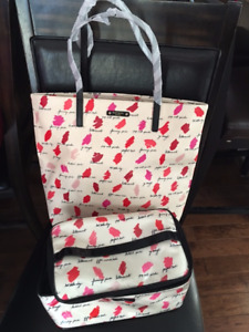 NWT authentic Kate Spade Bon shopper and matching makeup case.