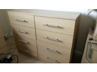 Chest of Drawers, 8-drawer light wood effect