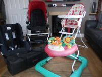 Baby Items 5 itemels to include Pushchair, highchair, car seat, walker & Travel cot