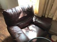 Brown Leather corner unit and Recliner