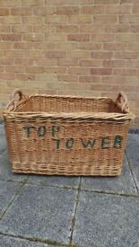 Vintage Retro Industrial Wooden Wicker Laundry Basket Trunk Large With Handles