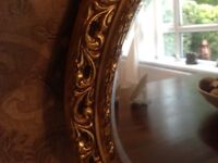 Large oval mirror, gold fancy edging, no marks/scratches only £25
