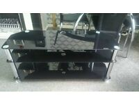 "Black glass/chrome tv unit 45"" wide"