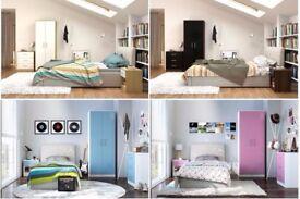 NEW 3 piece Bedroom set white/oak/blue/pink gloss 2 door wardrobe set