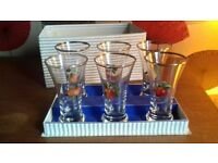 6 vintage fruit glasses with original box