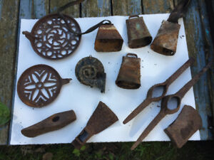 antique tools, stove parts, many more items