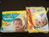 Pampers 2 & little angels 1 nappies.