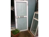Frosted glass exterior door with frame and 5 double glazed windows