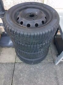 4x100 Tyres and Wheels - Set of 4 Average tread is 4.5mm - so still drivable!!!