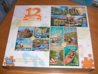 Jigsaw Collection - 12 puzzles of beautiful scenic views . 4x150 4x300 4x500 pieces.
