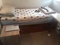 Solid single Real Oak bed for sale - John lewis / storage bed / 3 draws